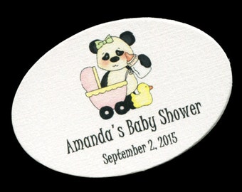 50 Personalized Baby Girl Baby Shower Favor Tags - Baby Girl Shower Tags - Baby Shower Tags - Baby Shower Labels - Panda Pink Buggy Oval