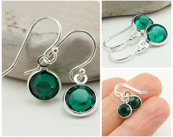 May Birthstone Earrings, Emerald Green Earrings, Sterling Silver Swarovksi Crystal Gift Idea for Her, May Birthday Gift