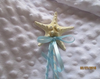 Flower Girl  Knobby Starfish Wand  Any Color Ribbon