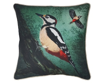 Cushion cover for throw pillow with bird - Spotted woodpecker - 16x16inch // 40x40cm