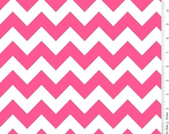 Riley Blake Medium Chevron Neon Pink Fabric, 1 yard