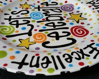 Family Special Day or Birthday Plate - Colorful Personalized 12 Inch Ceramic Special Day Plate
