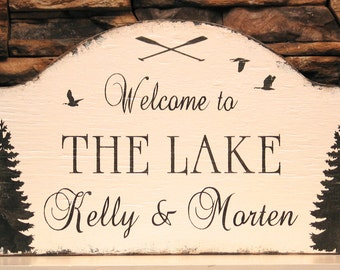 Welcome to the lake personalized custom cottage rustic sign, rustic lake house, custom cabin sign, cabin decor, realtor housewarming gift