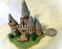 Miniature Castle Fantasy Fairy Home Handmade Sculpture Terrarium Ornament Unique Collectible Fantasy Gift