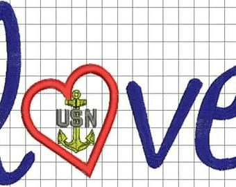 Navy Love Embroidery Design