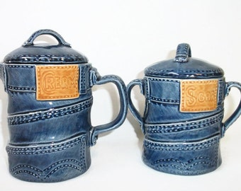 Vintage Handmade Ceramic Denim Blue Jean Cream and Sugar Set