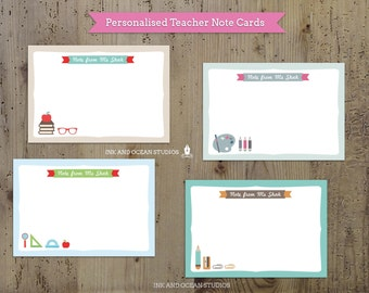 Custom Personalized Teacher note card, teacher resources, printable notes