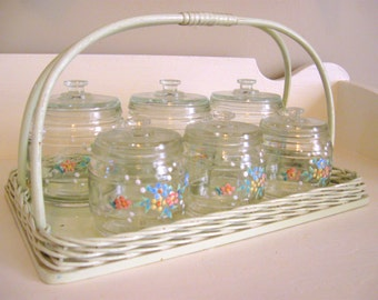 Kruger Germany 1940's Hand Painted Flowers Baby Nursery Dresser Tray & Jar Set - Precious -