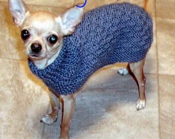 Immediate Download - PDF Knitting Pattern Basketweave Dog Sweater - Chihuahua Min Pin Yorkie Puppy