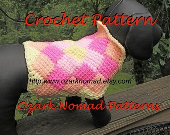 Immediate Download - PDF Crochet Pattern for The Harlequin  Dog Sweater