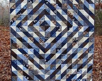 "indigo maze - nap size quilt - 72"" x 61"" - ON SALE -  ready to ship"