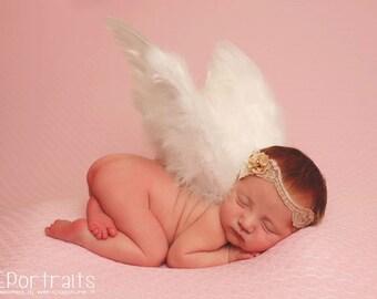 Summon - Beige Tan Cream Lace Headband -  Vintage Style - Pearl - Girls Newborns Baby Infant Adults