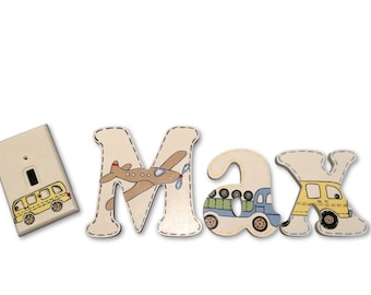 M2M PBK Backseat Driver Cars Vehicles Custom Hand Painted Wood Wooden Nursery Hanging Wall Letters Baby Room Decor Name Sign