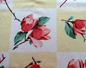 Vintage Yellow Tablecloth with Red Flower Blossoms