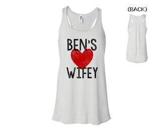 CUSTOM WIFEY TANK. Bride shirt. Bridal shower gift. Honeymoon. Wifey. Bride. Just Married. cnwh