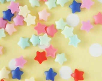 Assorted 10 pairs (20pcs) Teeny Matte Finished Star Flakes/Cabochon (8mm) IK137