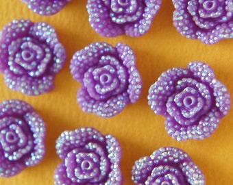 10 pcs  Bling Rose Cabochon (18mm)  Purple  FL396