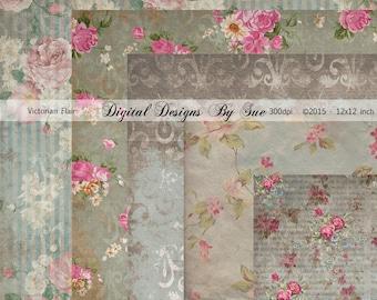Victorian Flair Paper Pack -  Printable Digital Collage Sheet - Digital Download