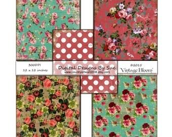 Vintage Bloom Paper Set - Printable Digital Collage Sheets -Download - Digital Art, Crafts, Scrapbooking