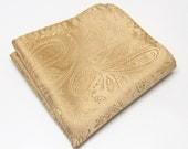 Pocket Squares Silk Dusty Gold Paisley Hankies