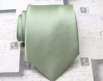 Mens Tie Neck Tie. Pale Olive Green Stripes Mens Necktie