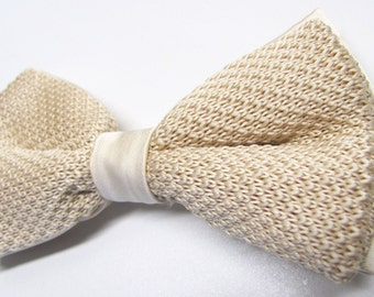 Mens Knitted Bowties. Champaign Antique Cream Men's Knit Bow Tie