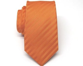 Mens Tie. Skinny Tie. Orange Stripes Skinny Necktie