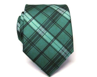 Mens Tie. Necktie. Green and Black Plaid Men's Tie With Matching Pocket Square Option