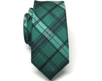 Skinny Tie. Mens Tie. Green and Black Plaid Skinny Tie With Matching Pocket Square Option