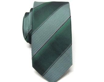 Mens Ties Hunter Green Stripes Skinny Necktie