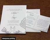 Sarah Letterpress or Digital Wedding Invitations - Set of 100