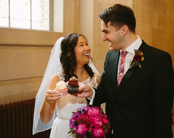 Custom Handmade 1 or 2 Tier Elbow Bridal Wedding Veil With a Ribbon Edge Starting at 34.99
