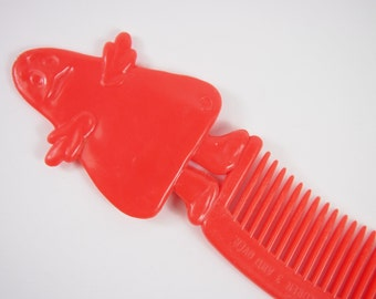 Vintage 80s Red Plastic McDonalds Grimace Comb Advertising Souvenir
