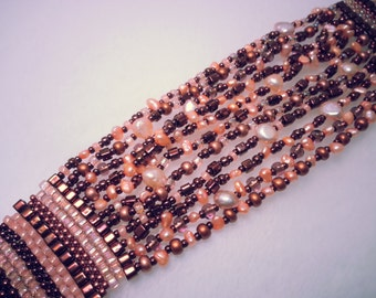 Strands of Copper Cubes and Peach Freshwater Pearls Bracelet