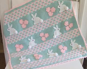 CROCHET PATTERN - CV121 Baby Blanket - Bunny Baby Blanket - PDF Download
