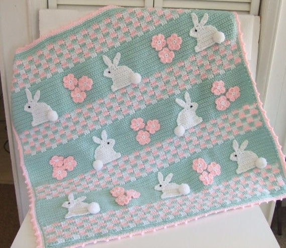 CROCHET PATTERN CV121 Baby Blanket Bunny Baby Blanket