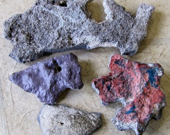 Four Oregon Desert Stone Rocks with Holes 4 Inch Largest Pendant Britz Beads Supply
