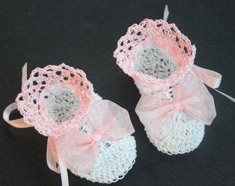Crocheted Baby Booties Newborn Girl Crib Shoes Baptismal Baby Booties Christening Baby Crib Shoes Crochet Reborn Shoes Knit Doll Booties