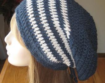 Denim and Natural Alpaca Slouchy Beanie Dread Tam Crocheted winter hat