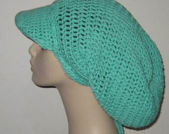 Cotton Extra Long Billed Slouchy Beanie Dread Hat Tam in Light Green