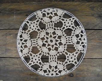 doily decor ~ framed ~ vintage metal embroidery hoop