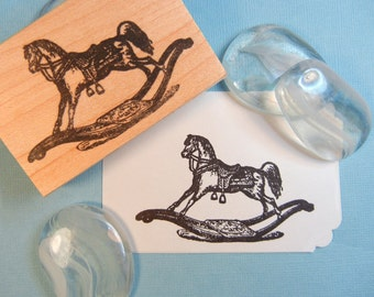 Rocking Horse Rubber Stamp //  Baby Showers, New Baby - Handmade rubber stamp by BlossomStamps