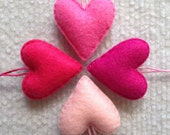 Pink felt heart ornament set of 4