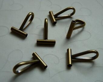 New item -- 6 Pieces of Antique Brass Plated Brass Brooch/Pin Converter Bail -- Horizontal, 21x13.5mm