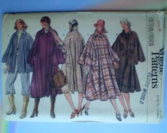 Vintage 70s Full Cape Coat Uncut Vogue Pattern 31 1/2
