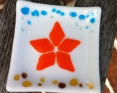 Starfish Dish Fused Glass - Trinket Dish - Spoon Rest - Beach Cottage Decor