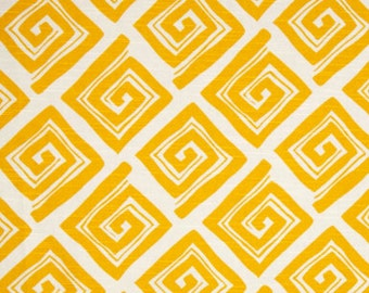 Clearance Premier Prints Maze- Corn Yellow on White Slub - Fabric by the Yard Yellow Fabric Home Decor Fabric