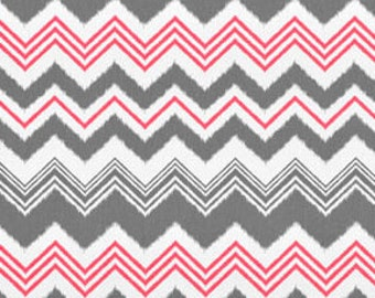 Premier Prints Zazzle Flamingo - Pink Chevron Fabric - Clearance Fabric - Home Decorating Fabric Chevron Fabric Pink Gray - One Yard
