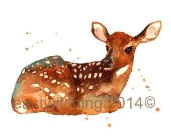 FAWN painting, Deer Art Print, baby girl wall art, 8x10 print, ready to frame