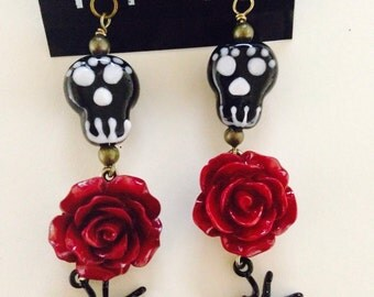 Day of the Dead Elegant Black Spider Earrings with Ruby Red Crystal paired with Red Rose